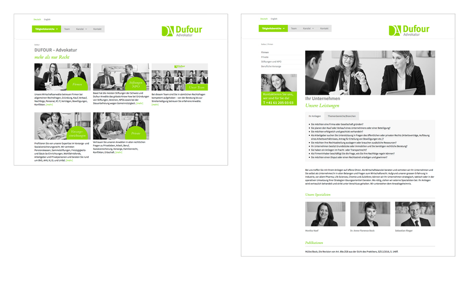 Anwaltskanzlei in Basel - Dufour Advokatur Webdesign